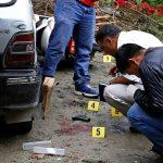 Nepal Police forensic team investigating the crime scene where Kumar Shrestha, aka Ghainte (inset), was shot dead, in Samakhushi, Kathmandu, on Thursday. Photo: THT